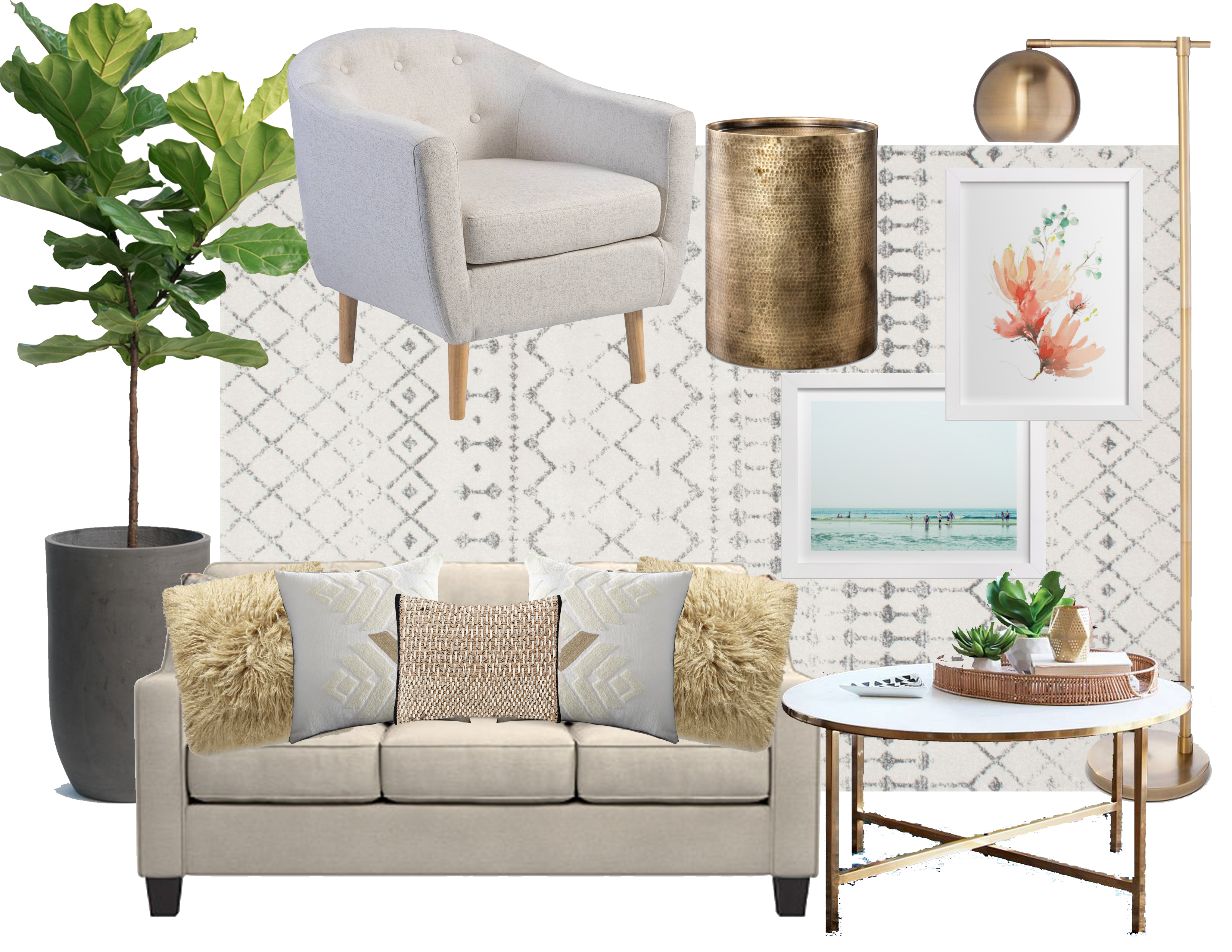 Moodboard monday a neutral modern living room the for Modern living room mood board